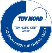We have been certified by TÜV NORD  For ISO 9001, ISO 14001 and OHSAS 18001